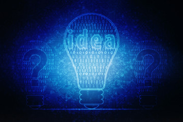 2d ,bulb future technology, innovation background, creative idea concept