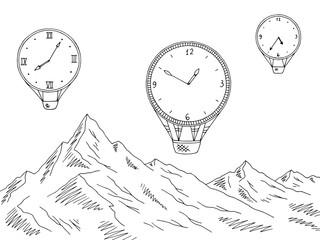 Mountain clock air balloon graphic black white landscape sketch illustration vector