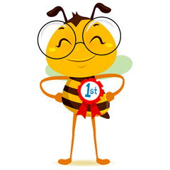 Vector Illustration of Happy Bee with 1st Place Ribbon