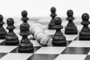 Chess pieces on a chess board with the king and pawns