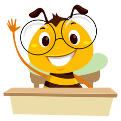 Vector Illustration of Bee waving his hands while sitting in the classroom