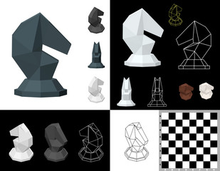Chess knight set. 3d Vector illustration. Isometric projection. Front view.