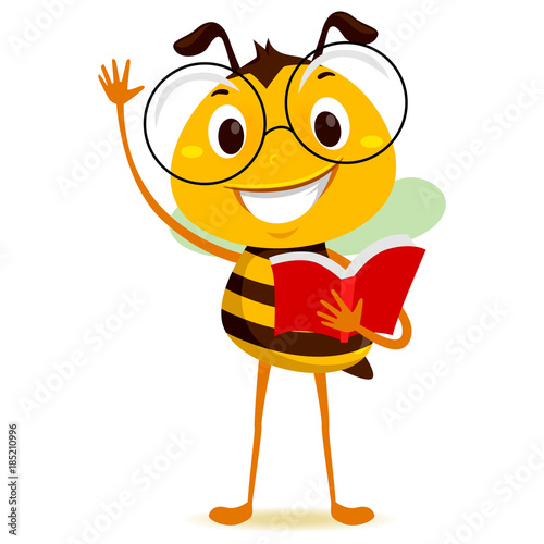 Vector Illustration of Bee Student Holding a Book while