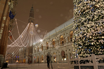 many snowflakes in the main square of Vicenza City in Italy