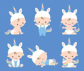 Vector illustration of baby boy in unicorn costume with various poses including sitting, standing, crying, sleeping, etc.