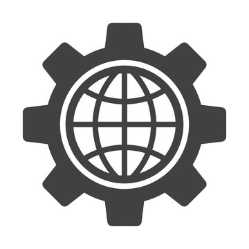Globe of the inside a gear or cog. Global Options icon.
