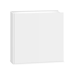 Blank square book cover isolated on white background. Mockup to display your design. Vector illustration