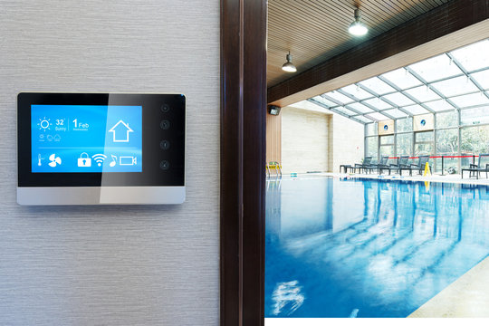 smart screen with smart home with modern swimming pool