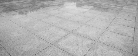 Perspective View of Monotone Gray Brick Stone on The Ground for Street Road. Sidewalk, Driveway,...