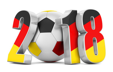 Soccer ball and flag Germany numbers 2018 on a white background. 3d rendering.