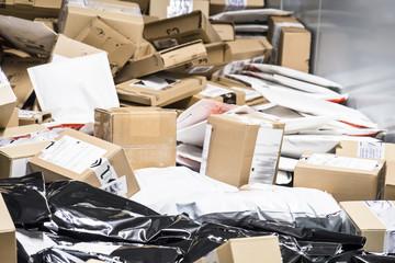 Huge amount of parcels on conveyor Wall mural