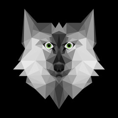 Polygonal wolf head logo, vector illustration