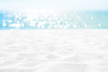 Clean white sand texture at summer beach for background