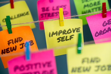 Sticky notes with improve self written