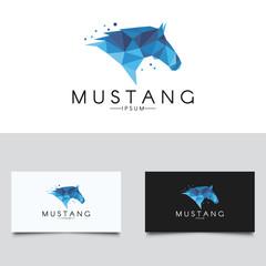 Horse logo. Polygonal mustang logotype.