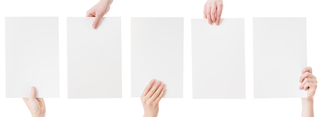 hands holding blank paper isolated