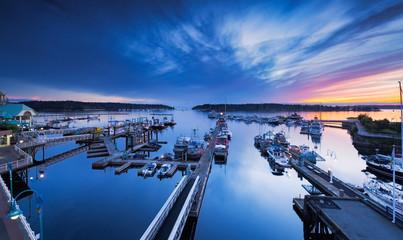 Port de Nanaimo au crépuscule, Vancouver Island, BC, Canada