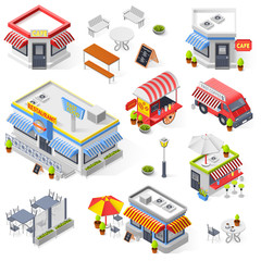 Set Of Street Restaurant And Cafe Isometric Icons