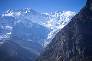 Garden Poster Brown Annapurna Peak and pass in the Himalaya mountains, Annapurna region, Nepal