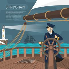 Sailboat Captain Nautical  Flat Poster
