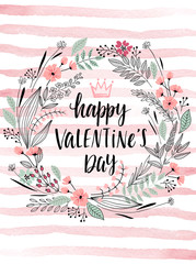 Wall Mural - Valentine`s Day Callygraphic Wreath - hand drawn