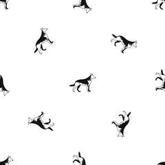 Shepherd dog pattern seamless black