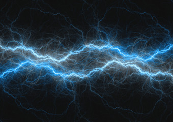 Blue lightning bolt, abstract plasma and power background