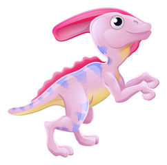 Cute Parasaurolophus Cartoon Dinosaur