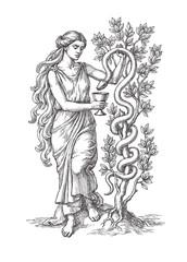 Греческая богиня медицины, здоровья и гигиены, с чашей и змеёй. Рисунок тушью на белом фоне.