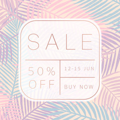 Sale banner. Palm leaves background. Tropical style. Vector template