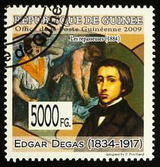 """Painting """"Ironers"""" by Edgar Degas on postage stamp"""