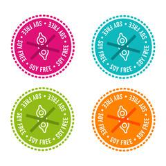Wall Mural - Set of Allergen free Badges. Soy free. Vector hand drawn Signs. Can be used for packaging Design.