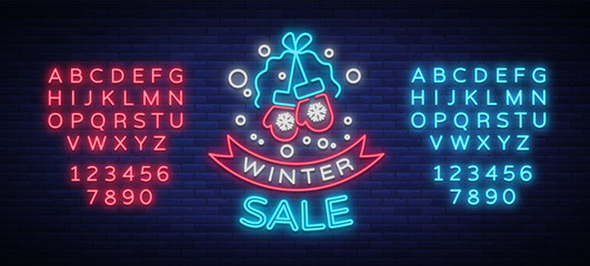 Winter sale of a poster in neon style. Neon sign, bright flyer, glowing banner, night neon advertising on the theme of winter holiday discounts and sales. Vector illustration. Editing text neon sign