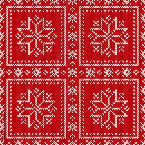 Winter Holiday Seamless Knitted Pattern With Snowflakes Wool