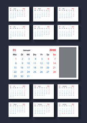 Calendar for 2018 year.