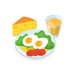 Delicious healthy breakfast consisted of boiled eggs, salad, olives, tomatoes, cheese slices lying on plate and glass of orange juice. Tasty and nutritious morning food. Colored vector illustration.