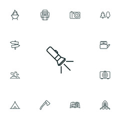 Set Of 13 Outdoor Outline Icons Set.Collection Of Pocket Torch, Baggage, Shelter And Other Elements.