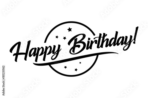 Happy birthday card beautiful greeting banner lettering