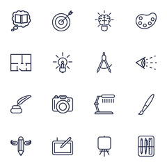 Set Of 16 Creative Outline Icons Set.Collection Of Easel, Dividers, Drawing Tools And Other Elements.