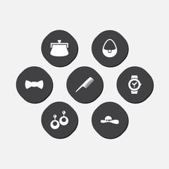Set Of 7 Ornamentation Icons Set.Collection Of Hairbrush, Handbag, Purse Elements.