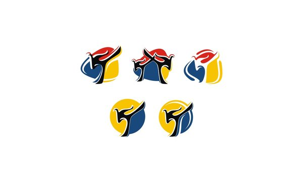 fighter, silat, taekwondo, emblem symbol icon vector logo