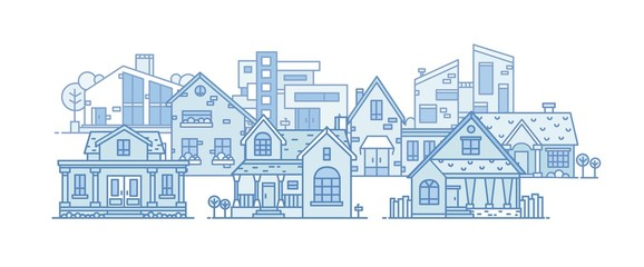 Suburban landscape with various city buildings built in different architectural style. Cityscape with residential houses. Panoramic view of town district. Vector illustration in line art style.