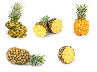 whole and sliced pineapples isolated