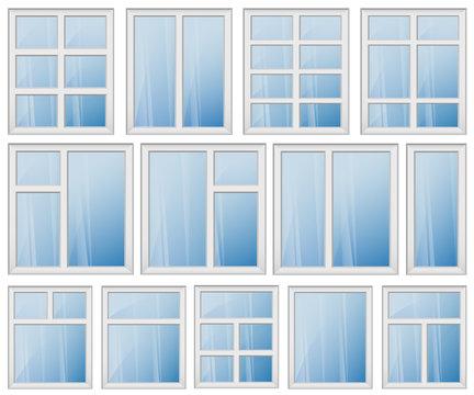 WINDOW FRAME DESIGN SET BLUE GLASS