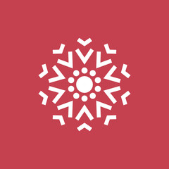 Cute Snowflake Icon. Christmas Decoration Ornament. Mandala Style. Lines.