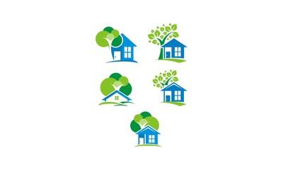 house, tree, shade, comfortable, emblem symbol icon vector logo