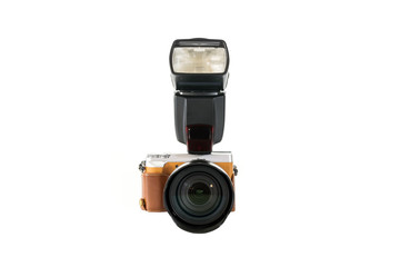 Digital SLR camera with flash isolated on white background.