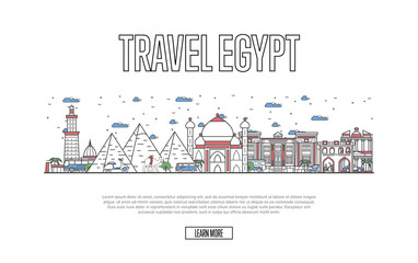 Egyptian tourism poster with famous architectural attractions in linear style. Worldwide traveling, time to travel concept. Egyptian landmarks with pyramids and minaret, city skyline vector background