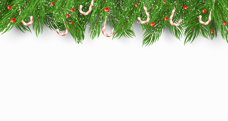 Christmas background with a Christmas tree, candies and snow berries. White background. Falling snowflakes. Template for your project. Vector