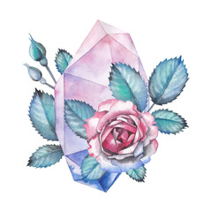 Watercolor crystal and rose leaves